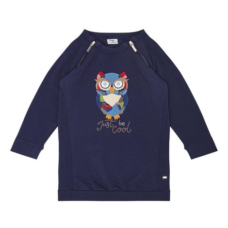 Owl Sweatshirt Dress Kids, ${color}