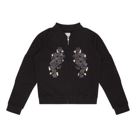 Black Embellish Jersey Jacket, ${color}