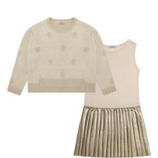 Two-Piece Polka Knit Pleated Dress Kids