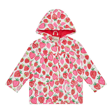 Strawberry Print Raincoat Kids, ${color}