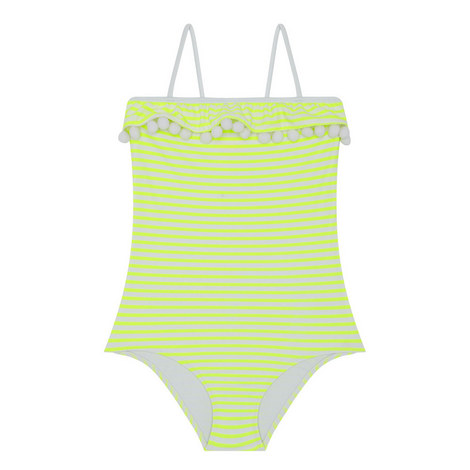 Pom-Pom Trim Swimsuit Kids, ${color}