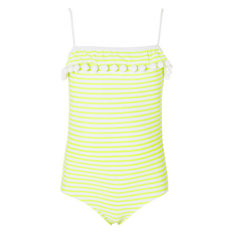 Pom-Pom Trim Swimsuit Teens, ${color}