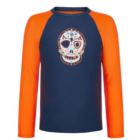Skull Print Rash Vest Teens, ${color}