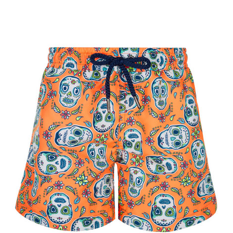 Skull Print Swim Shorts Toddler, ${color}
