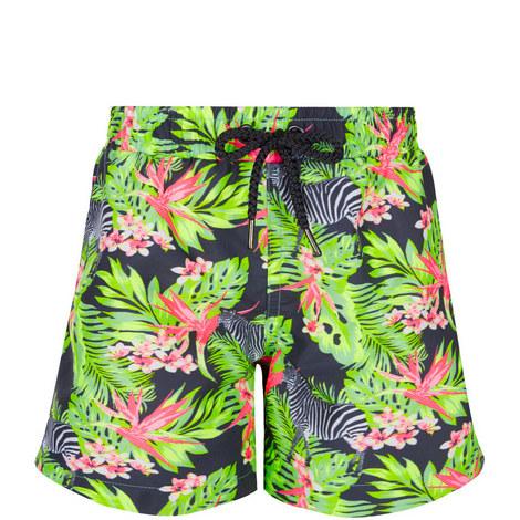 Zebra Print Swim Shorts Teens, ${color}