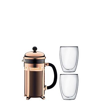 8-Cup Chambord Coffee Press and Pavina Glasses
