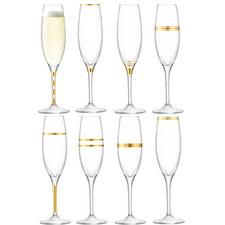 Deco Champagne Flutes Set of 8
