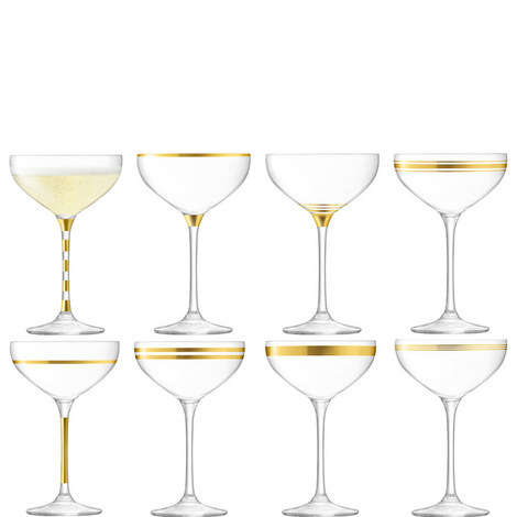 Deco Champagne Saucers Set of 8, ${color}