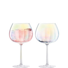 Set of Two Pearl Balloon Goblets