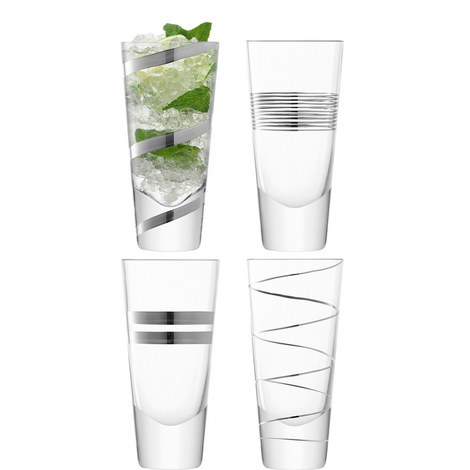 Gatsby Long Mixer Glasses Set Of Four, ${color}