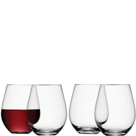 Stemless Red Wine Glasses Set Of Four, ${color}