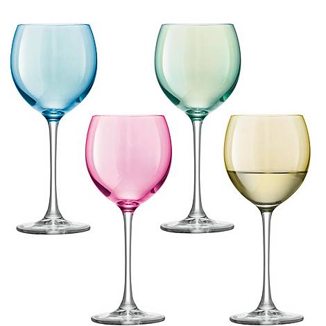 Set of Four Polka Wine Glasses, ${color}