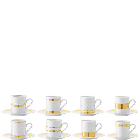 Deco Espresso Cups And Saucers Set of 8, ${color}
