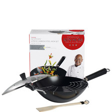 4 Piece Carbon Steel Wok Set