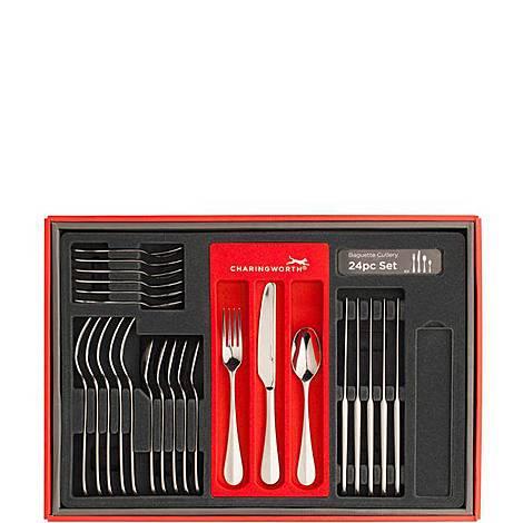 Baguette Mirror Cutlery Set 24 pieces, ${color}