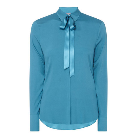 Ribbon Collar Silk Shirt, ${color}