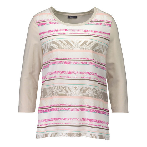 Scoop Neck Abstract Print Top, ${color}