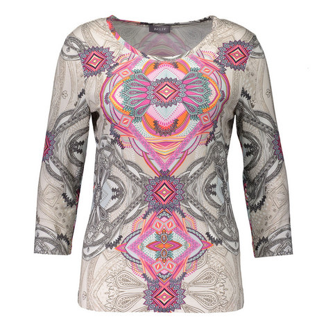Abstract Print Scoop Neck Top, ${color}