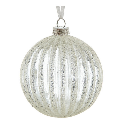 Clear Ribbed Glitter Bauble, ${color}