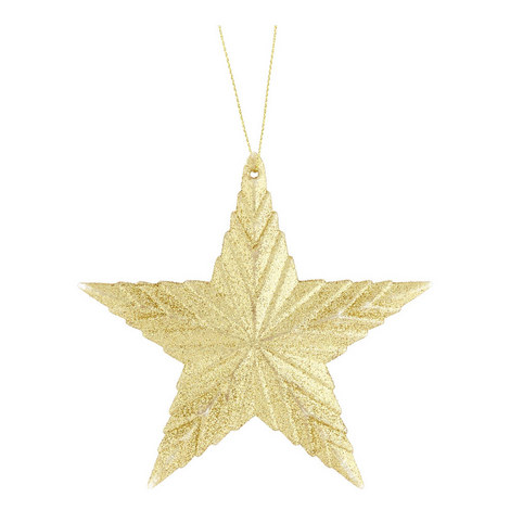 Glitter Ribbed Star Hanging Ornament, ${color}