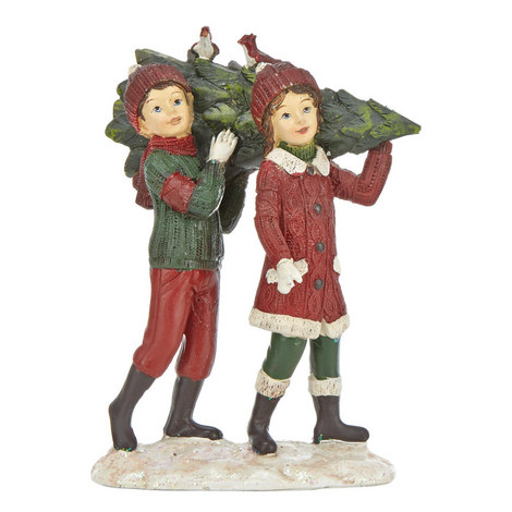 Children Carrying Christmas Tree Ornament, ${color}