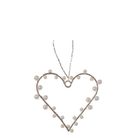 Pearl Heart Tree Ornament 10cm, ${color}