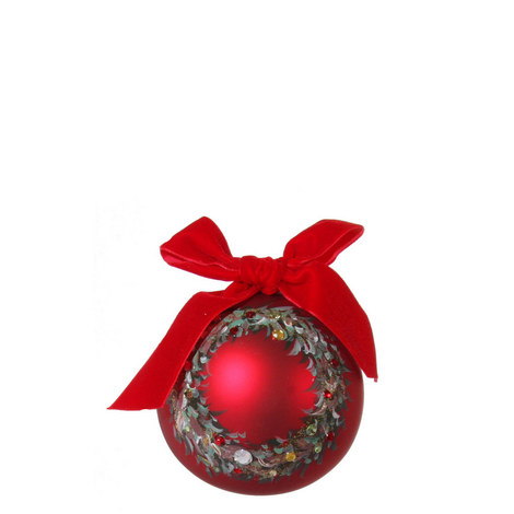 Wreath and Bow Bauble 10cm, ${color}