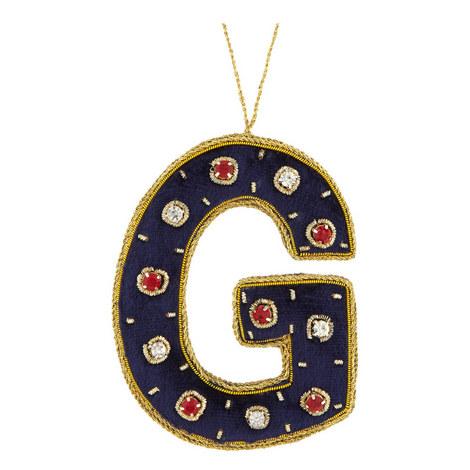 Bejewelled 'G' Hanging Decoration, ${color}