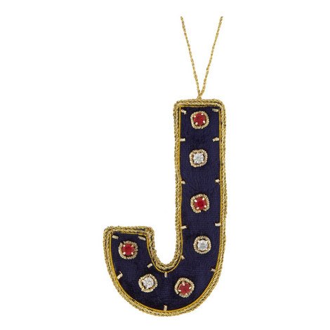 Bejewelled 'J' Hanging Decoration, ${color}