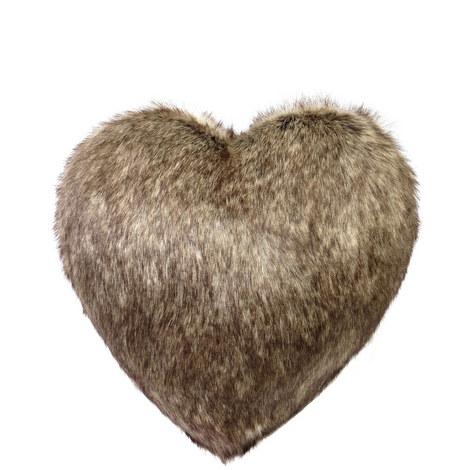 Heart Faux Fur Cushion Large, ${color}
