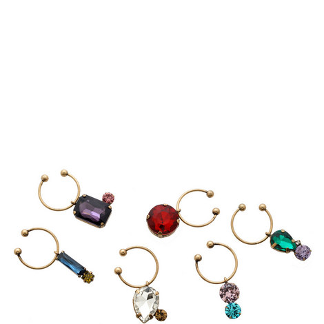 Set of 6 Jewelled Wine Charms, ${color}