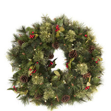 Pre-lit Pine Wreath