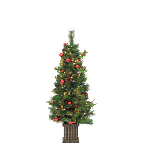 Pre-Lit Potted Norway Pine Tree 4.5ft, ${color}