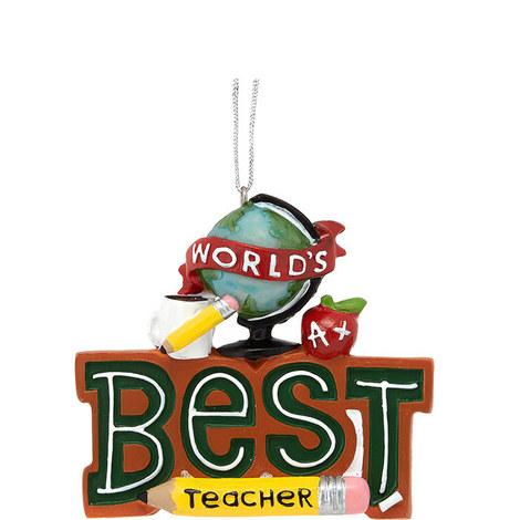 World's Best Teacher Ornament, ${color}
