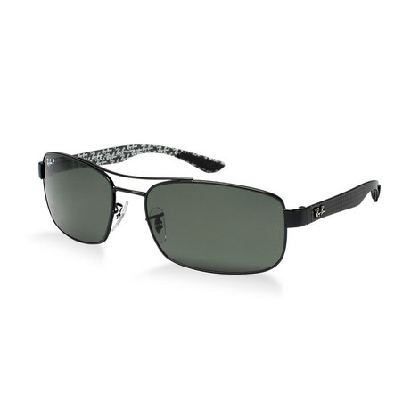 Carbon Fibre Rectangle Sunglasses RB83160 Polarised, ${color}