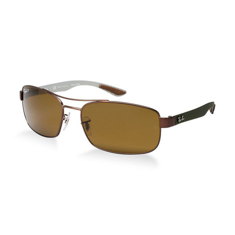 Carbon Fibre Rectangle Sunglasses RB83160 Polarised, ${color}
