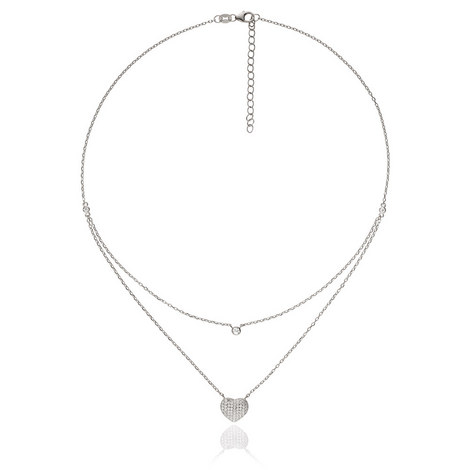 Fashionably Heart Double Necklace, ${color}