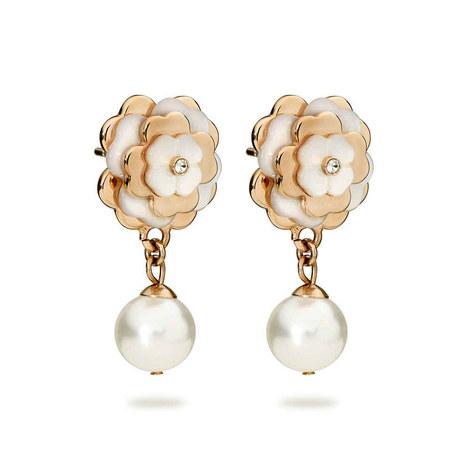Santorini Flower Pearl Drop Earrings, ${color}