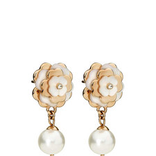 Santorini Flower Pearl Drop Earrings