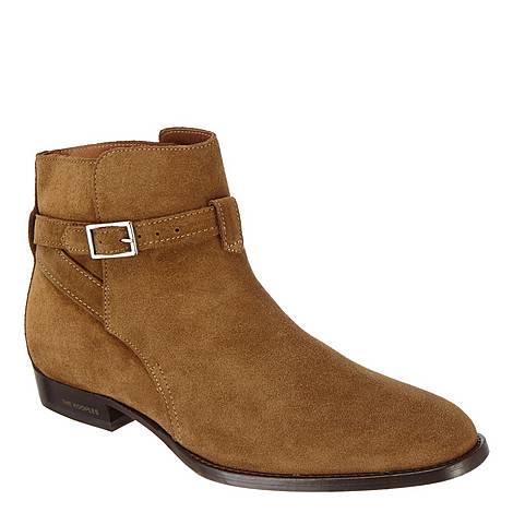 Suede Buckle Chelsea Boots, ${color}