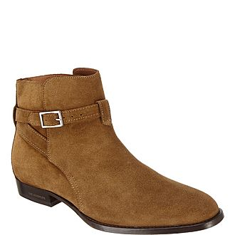 Suede Buckle Chelsea Boots