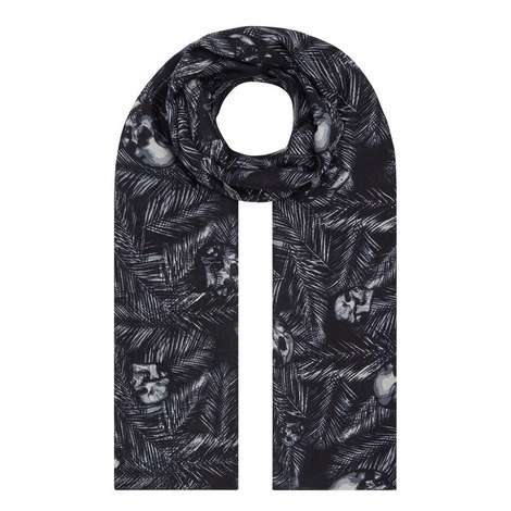 Foliage Skull Print Scarf, ${color}