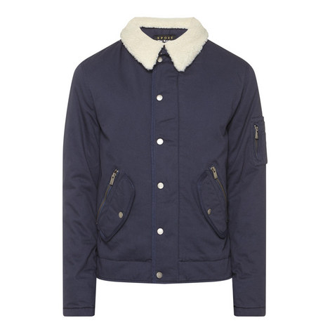 Faux Sheepskin Collar Jacket, ${color}