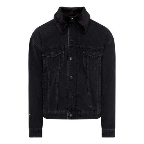 Sheepskin Collar Denim Jacket, ${color}
