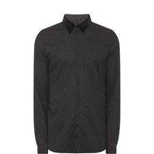Velvet Collar Printed Shirt