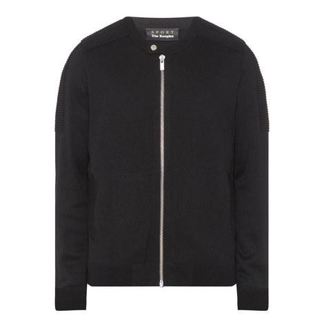 Biker Collar Zipped Cardigan, ${color}