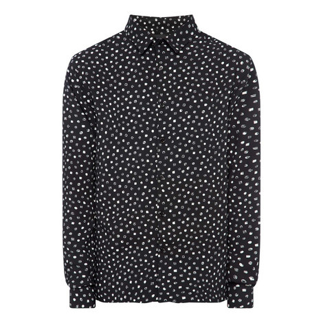 Polkadot and Square Print Shirt, ${color}