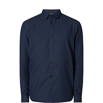 Star Print Officer Collar Shirt