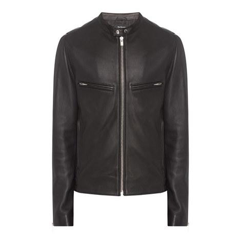 Leather Biker Collar Jacket, ${color}