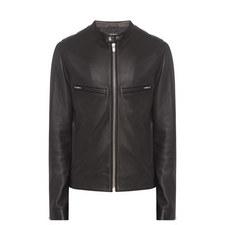 Leather Biker Collar Jacket
